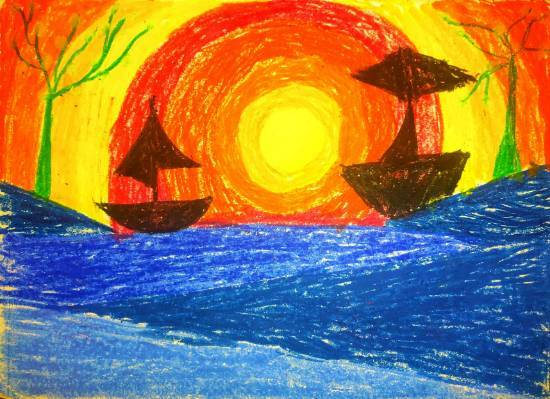 Painting  by Ishani Karan Doshi - Sun and Sea