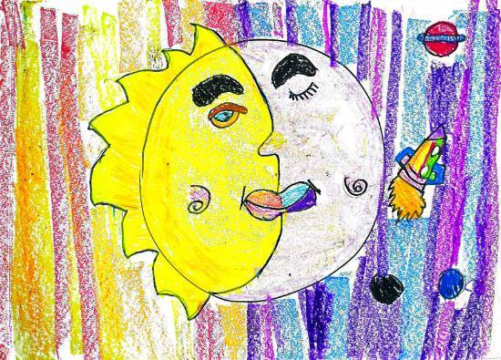 Moon and Sun, painting by Ishani Karan Doshi