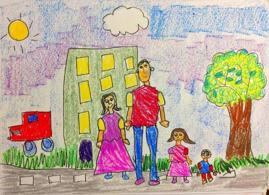 Painting  by Ishani Karan Doshi - Happy Family