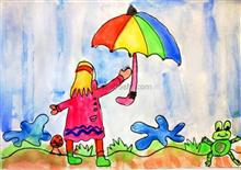 Painting  by Ishani Karan Doshi - It's raining, it's pouring