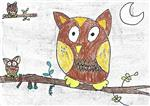 painting by Ishani Karan Doshi - The Mystical Owl
