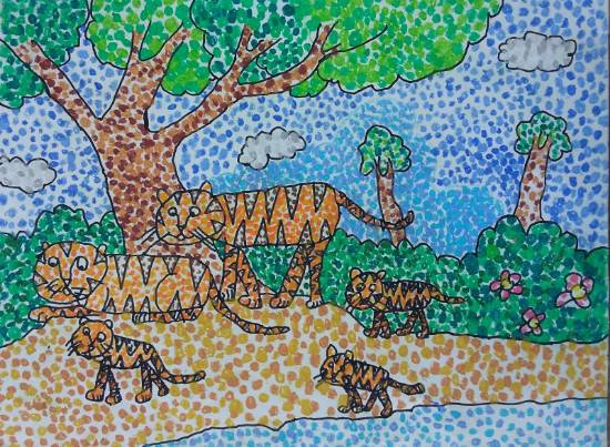 Painting  by Ishanvi Chamria - Jungle Family