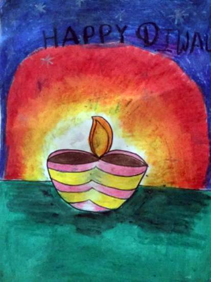 painting by Janhvi Jeeban Mishra - Happy Diwali