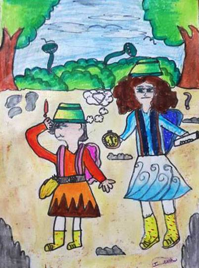 On an adventure with my sister, painting by Janhvi Jeeban Mishra