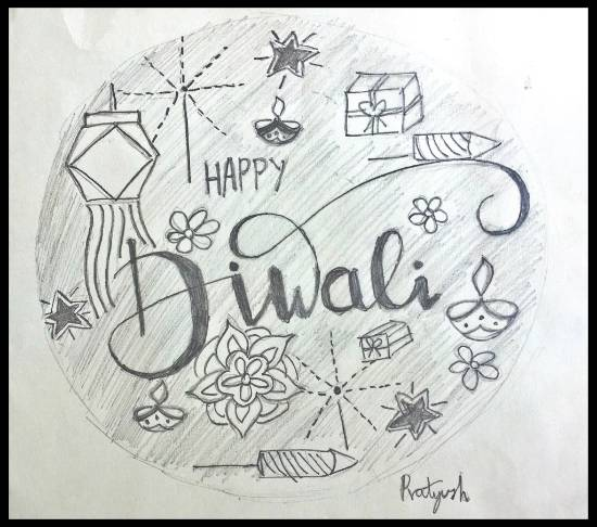 Painting  by Pratyush Kuldeepsinh Jagtap - Diwali greetings