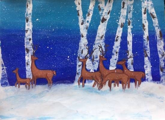 Painting  by Pratyush Kuldeepsinh Jagtap - Deer in snow