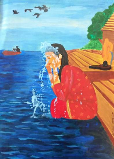 painting by Aayushi Bhagwat Ramdham - Tirtha - Washing away all sins