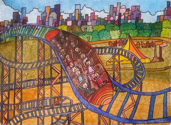 Painting  by Ishika Manish Gupta - Life is a roller coaster