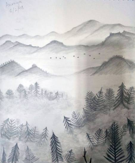 painting by Ananya Bansal - Landscape - 2