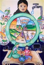Painting  by Kundan Ashwika Vobbilisetty - Save water secure life