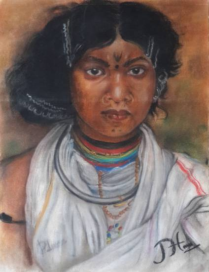 Tribal in India, painting by Pradeep Himirika