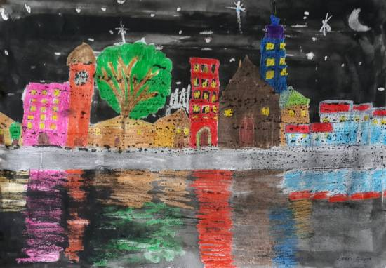 Painting  by Riddhi Gupta - City Night scene