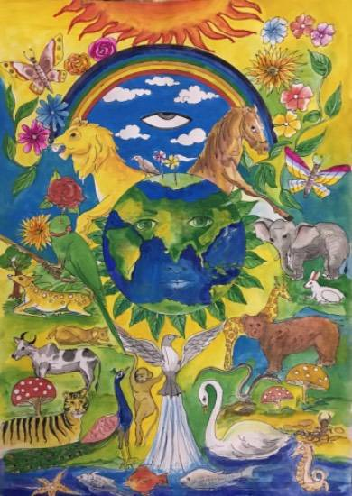 Painting  by Alisha Raghav - Save wildlife, Save Earth