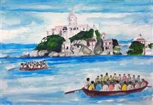 Painting  by Alisha Raghav - Call from the God's own island