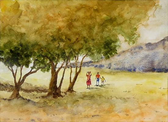 painting by Sneha Shinde - Rural Life - 2