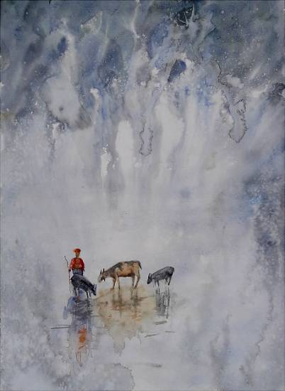 Rural Life - 1, painting by Sneha Shinde