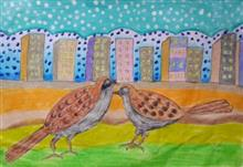 Painting  by Aarav S Malhotra - The Sparrows In the city