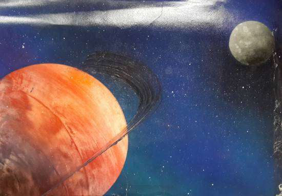 Painting  by Daksh Gupta - Saturn with its moon