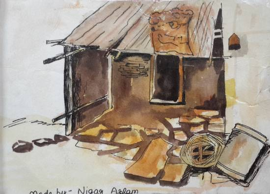 Muddy house, painting by Nigar Aslam