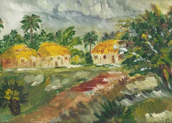 Bengal Village, Painting by Emerging Artist Amrita Banerjee