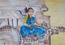Painting  by Ananya Pramod Kirsur - A Dancer poses at a historical site