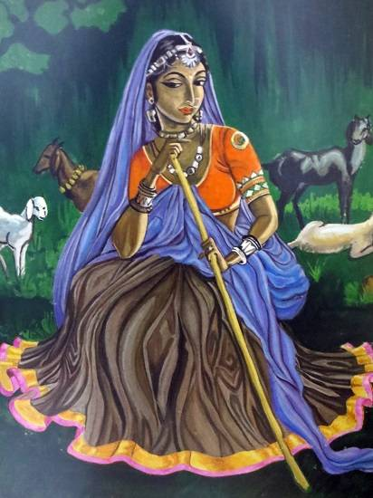 Shepherd Lady, Painting by Gauri Kodule