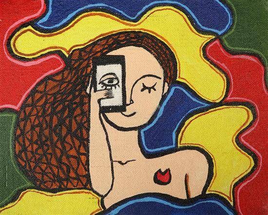 Painting  by Susmit Mitra - View of woman against any problem