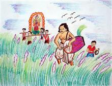 Painting  by Susmit Mitra - Village Festival