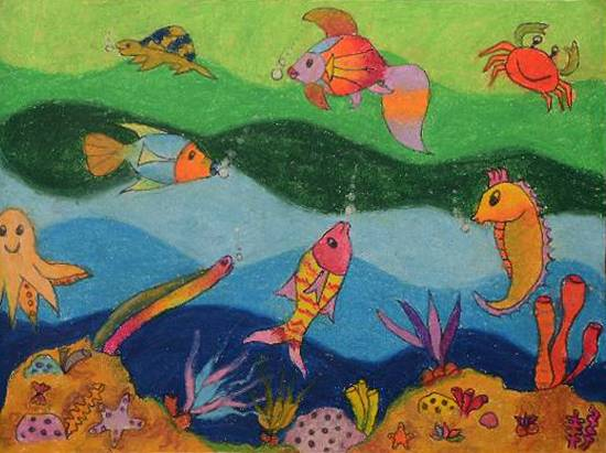 Painting  by Susanna Simon Almeida - Colourful Ocean