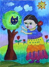 Painting  by Twisha Palav - Playing Hide & Seek with my little friend