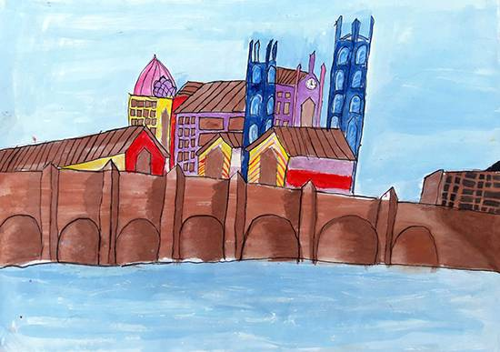 painting by Anuri Madhuashis - A bridge in England