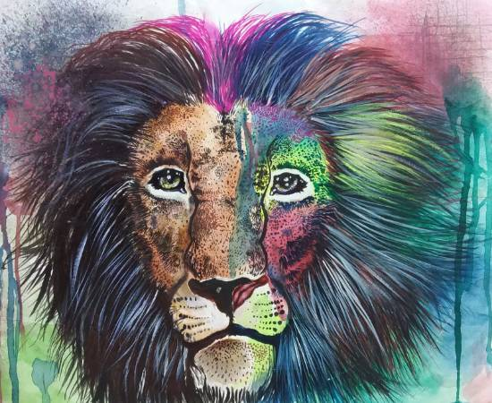 painting by Tanuj Samaddar - Leo the king