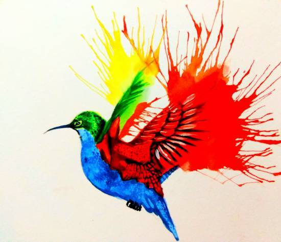 A bird in blow painting, painting by Tanuj Samaddar