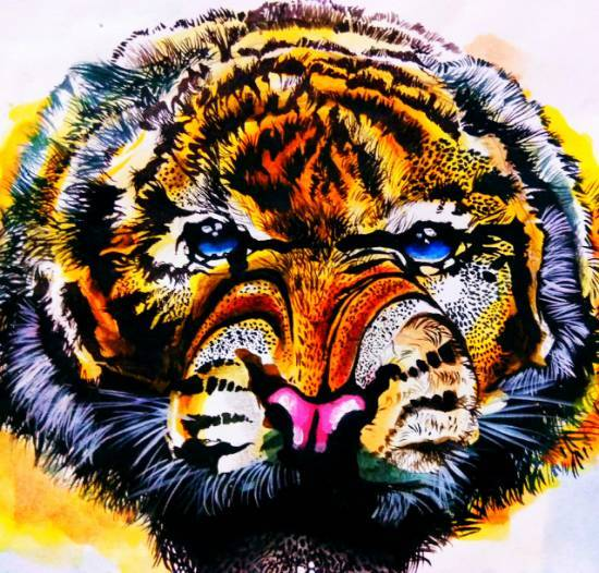 painting by Tanuj Samaddar - Tiger Tiger burning bright