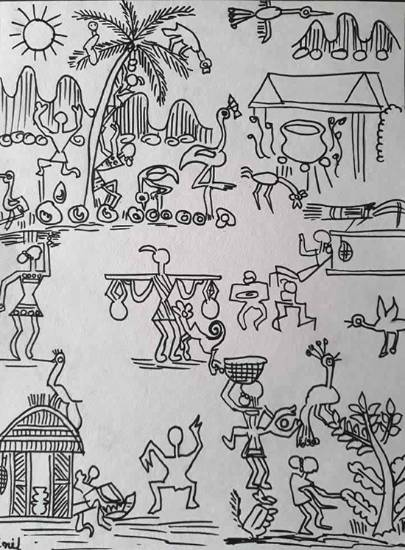 Painting  by Jainil Bhavsar - Warli art