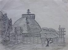 Painting  by Jainil Bhavsar - Sanchi Stupa
