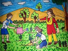 Painting  by Jainil Bhavsar - Save tree