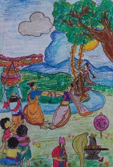 Shravanmasi Harshamanasi Hirval date Chohikade Painting by