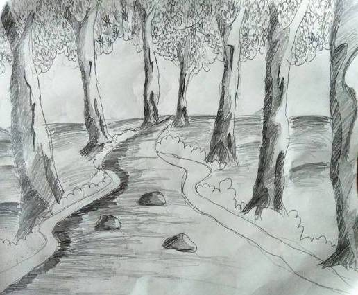 Wild Stream, painting by Nandakishore M O