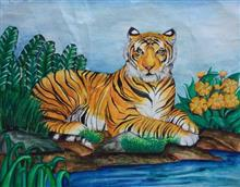 Painting  by Anjali Bhatt - Tiger in forest