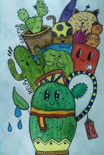 painting by Anvi Rameshwar Bang - Cactus doodle