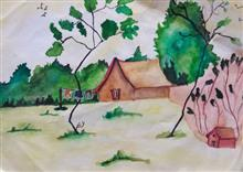 Painting  by Anvi Rameshwar Bang - Sunny day in village