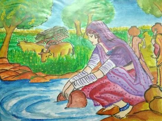 Painting  by Harshini  - Rural Woman
