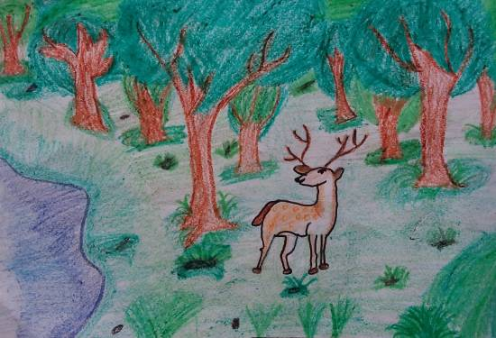 Painting  by Hirva Gandhi - Deer