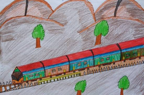 Railway, painting by Jaagrav Rathi
