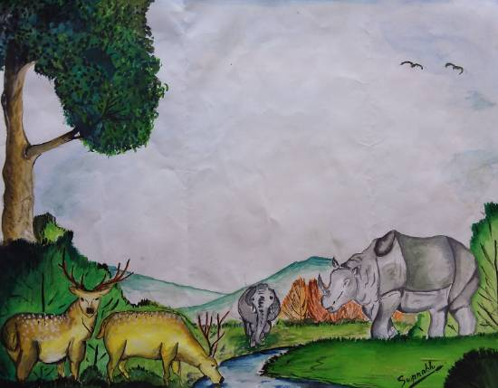 Painting  by Swapnabh Jyoti Borthakur - Kaziranga National Park, Assam