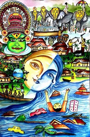 Painting  by V Ashwika Kundan - Re built kerala