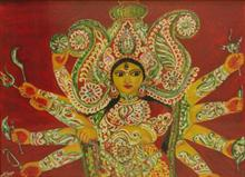 Goddess Durga - Power and Prosperity, painting by Mithuya Pal