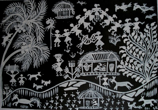 Warli painting painting by emerging artist sangeeta karkhanis altavistaventures Image collections