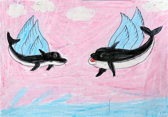 painting by Pankaj Vinesh Medha - Flying Dolphins